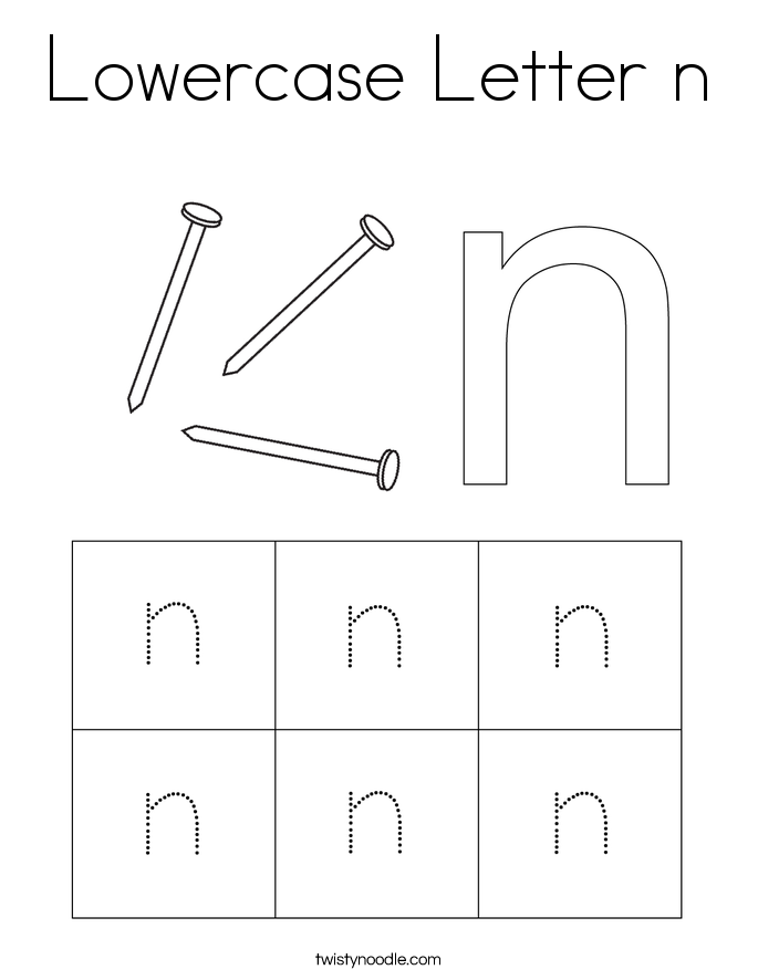 Lowercase Letter n Coloring Page
