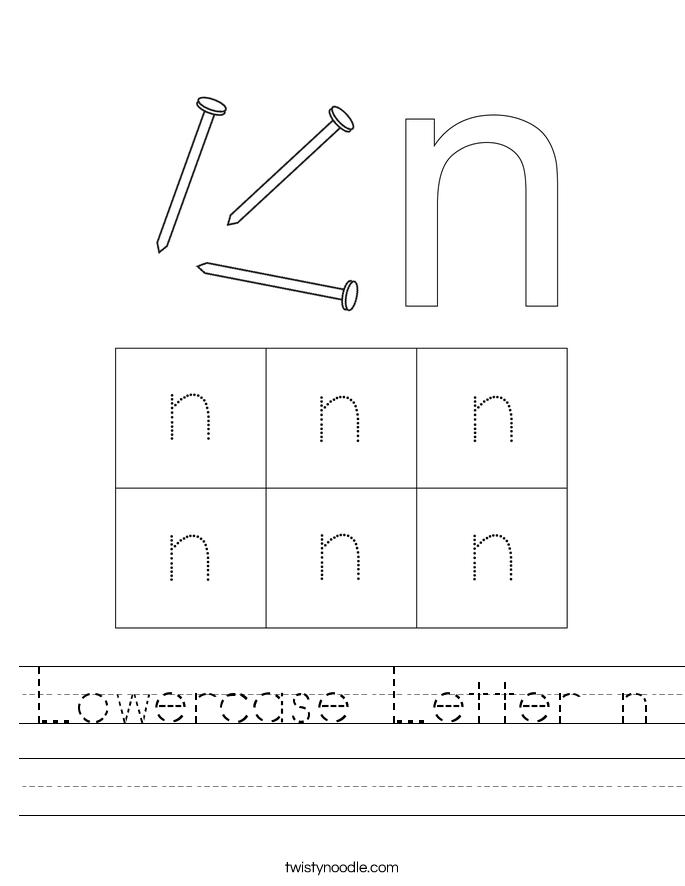 Lowercase Letter n Worksheet