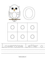 Lowercase Letter o Handwriting Sheet