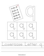 Lowercase Letter q Handwriting Sheet