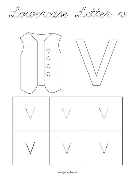 Lowercase Letter v Coloring Page