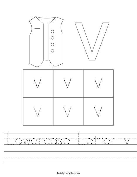 Lowercase Letter v Worksheet