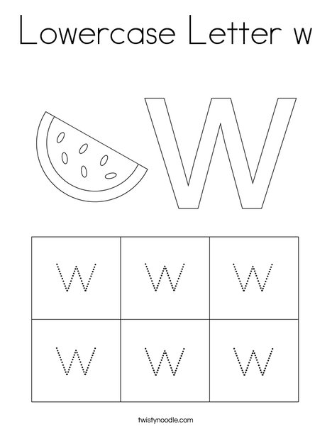 Lowercase Letter w Coloring Page