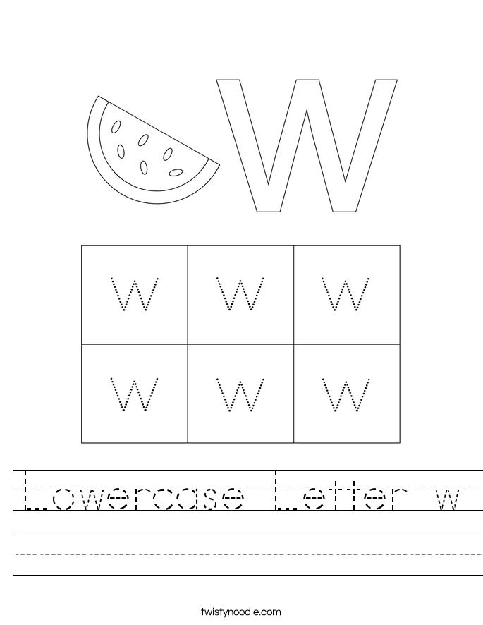 Lowercase Letter w Worksheet