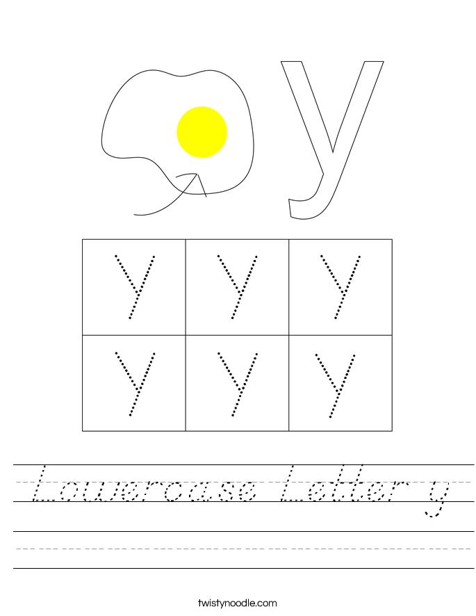 Lowercase Letter y Worksheet