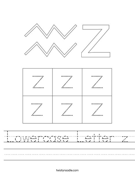 Lowercase Letter z Worksheet