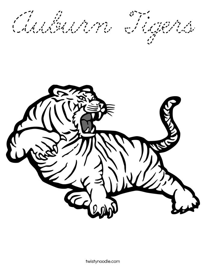 Auburn Tigers Coloring Page Cursive