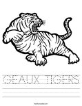 GEAUX TIGERS Worksheet