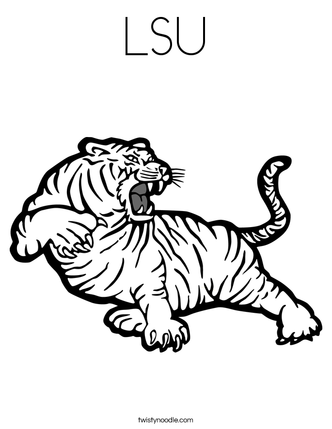 Tiger Football Coloring Pages. LSU Coloring Page  Twisty Noodle