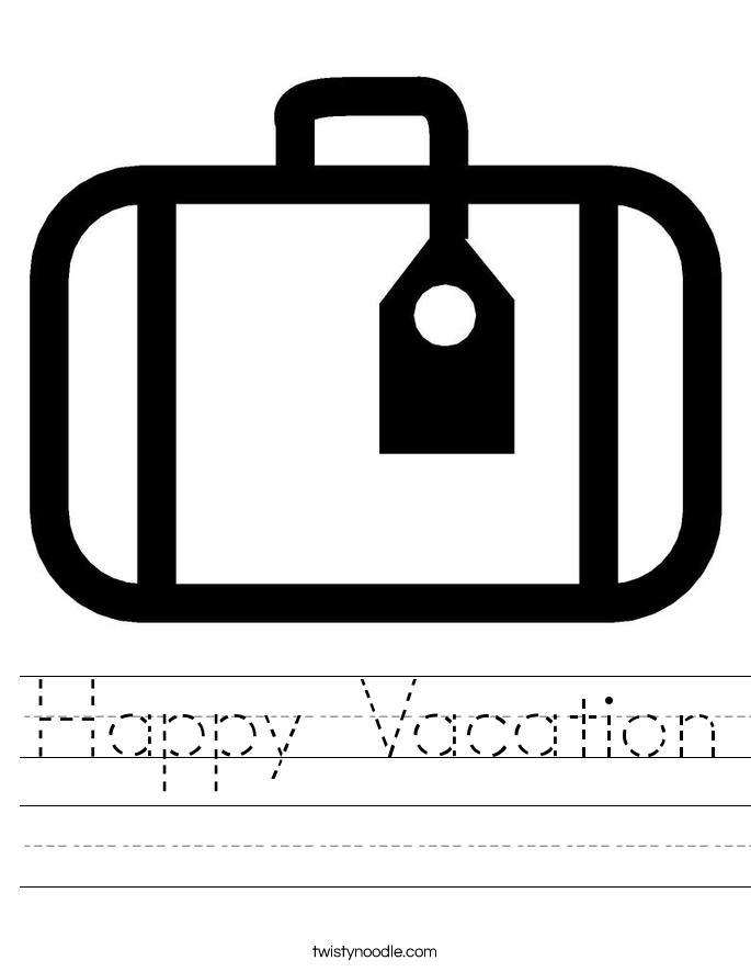 Happy Vacation Worksheet