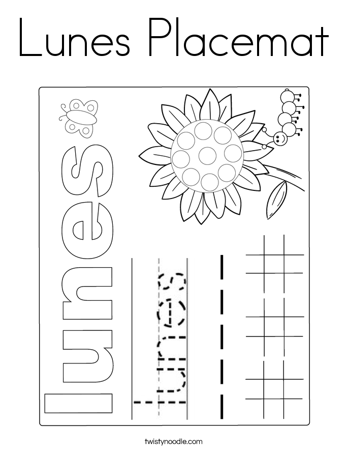 Lunes Placemat Coloring Page