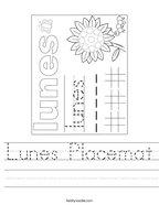 Lunes Placemat Handwriting Sheet