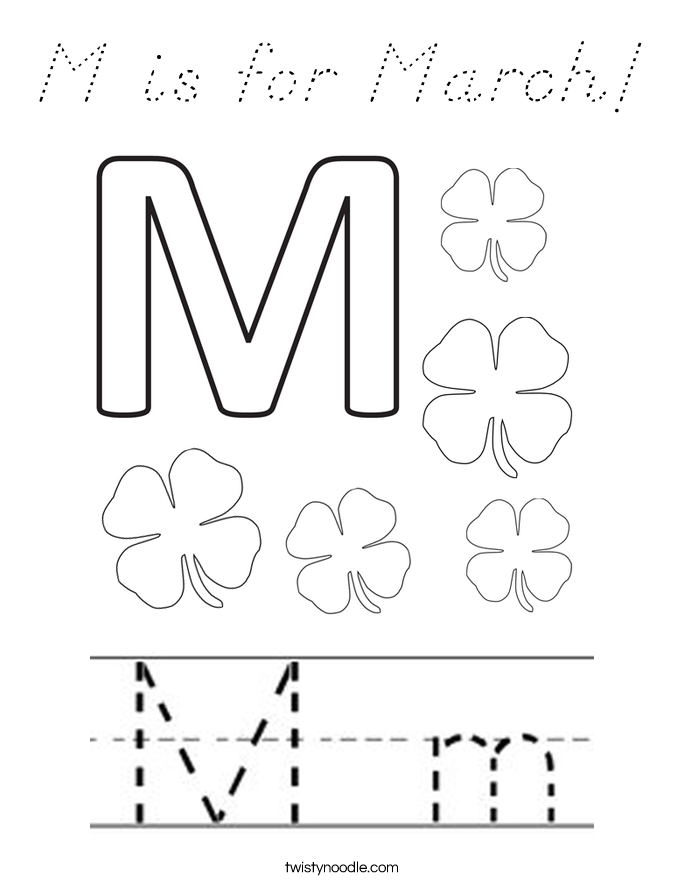 M is for March! Coloring Page