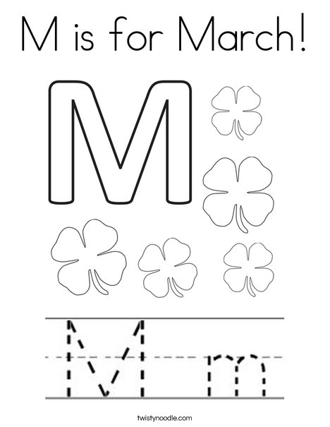 M is for March Coloring Page Twisty Noodle