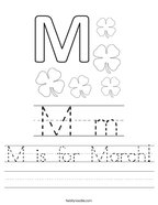 M is for March Handwriting Sheet
