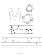 M is for May Handwriting Sheet