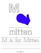M is for Mitten Handwriting Sheet