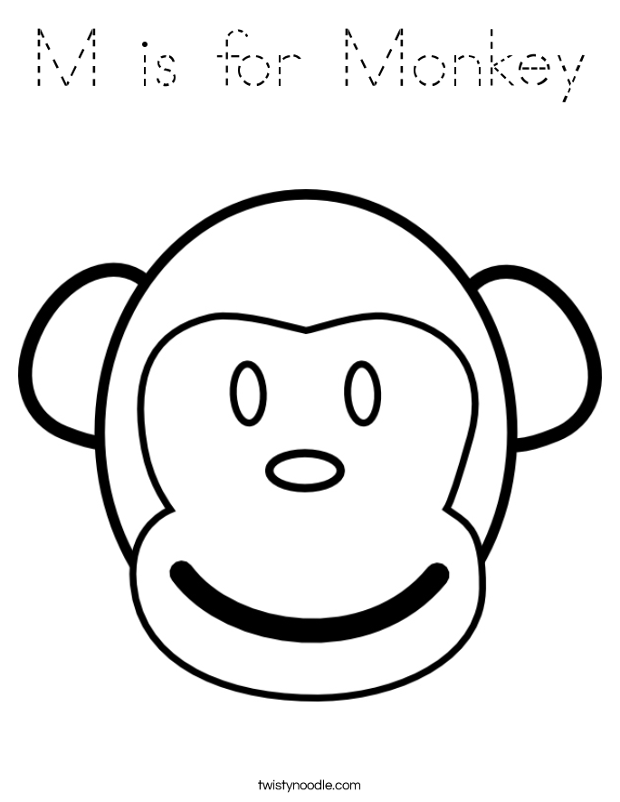 M is for Monkey Coloring Page