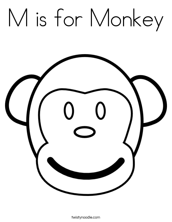 m is for monkey coloring page - Monkey Coloring Pages