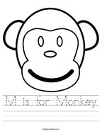 M is for Monkey Handwriting Sheet