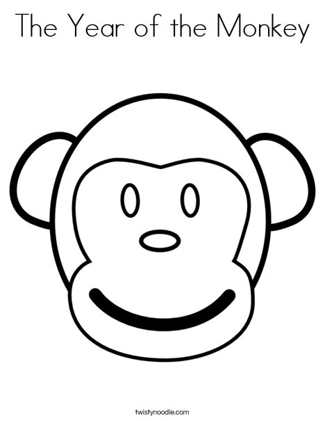 The Year Of The Monkey Coloring Page