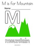 M is for Mountain Coloring Page