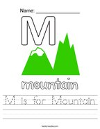M is for Mountain Handwriting Sheet
