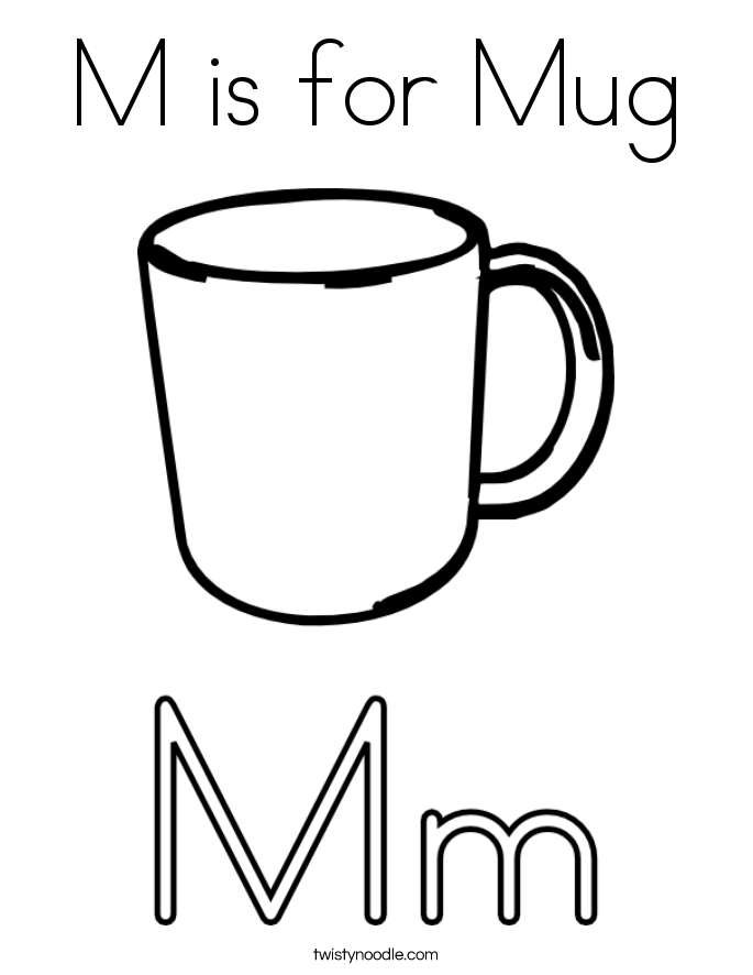 M is for Mug Coloring Page