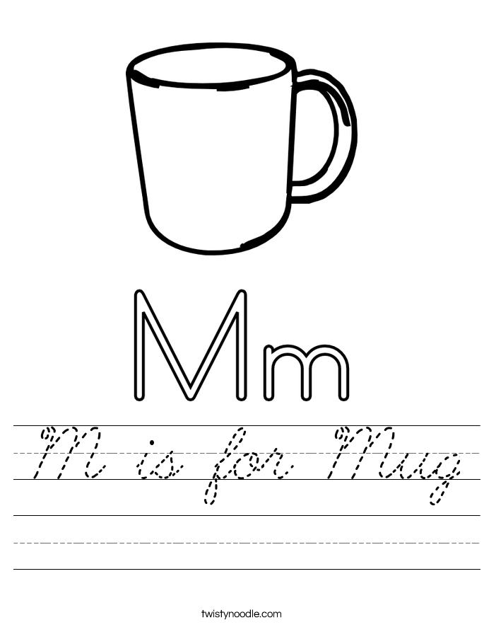 is for Mug Worksheet - Cursive - Twisty Noodle