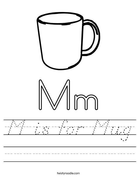 M is for Mug Worksheet