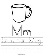 M is for Mug Handwriting Sheet