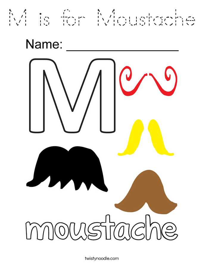 M is for Moustache Coloring Page