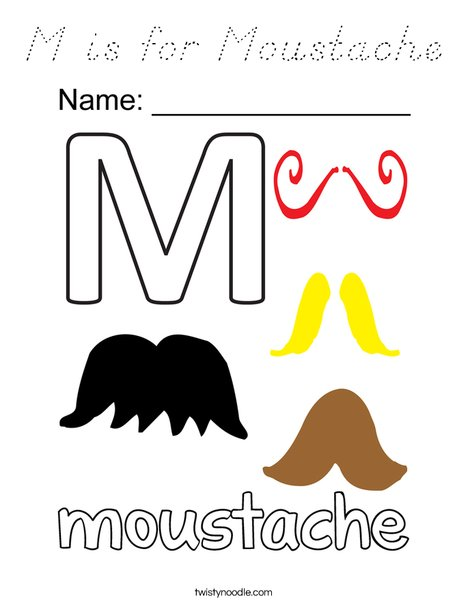 M is for Mustache Coloring Page