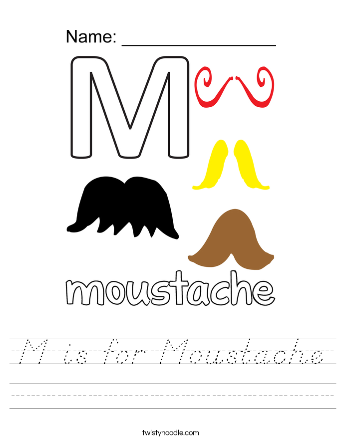 M is for Moustache Worksheet