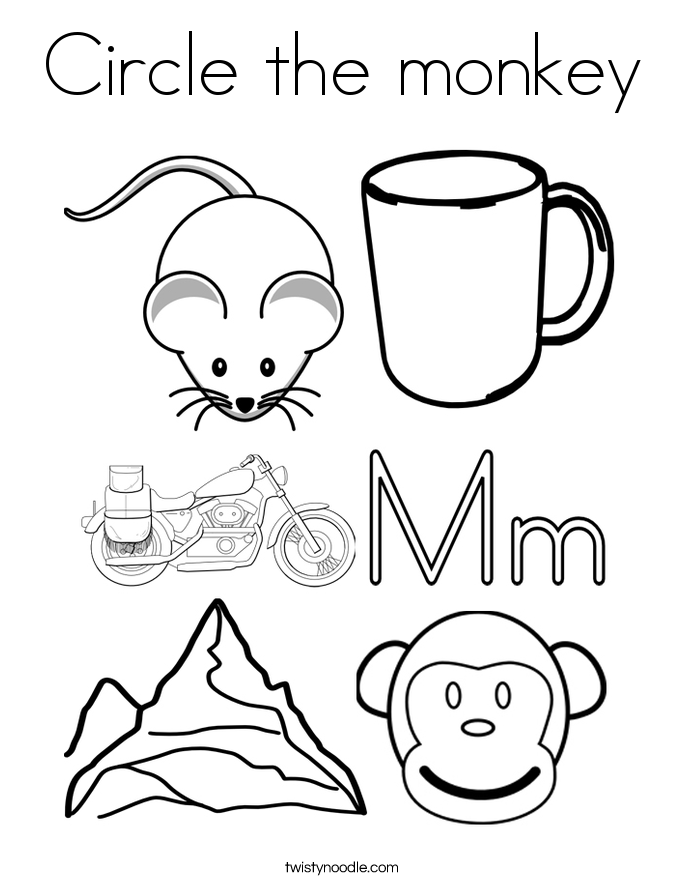 Circle the monkey Coloring Page