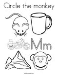 Circle the monkeyColoring Page