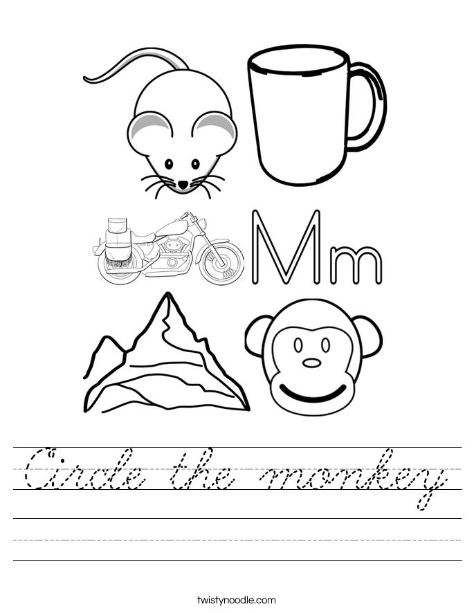 Circle the monkey Worksheet