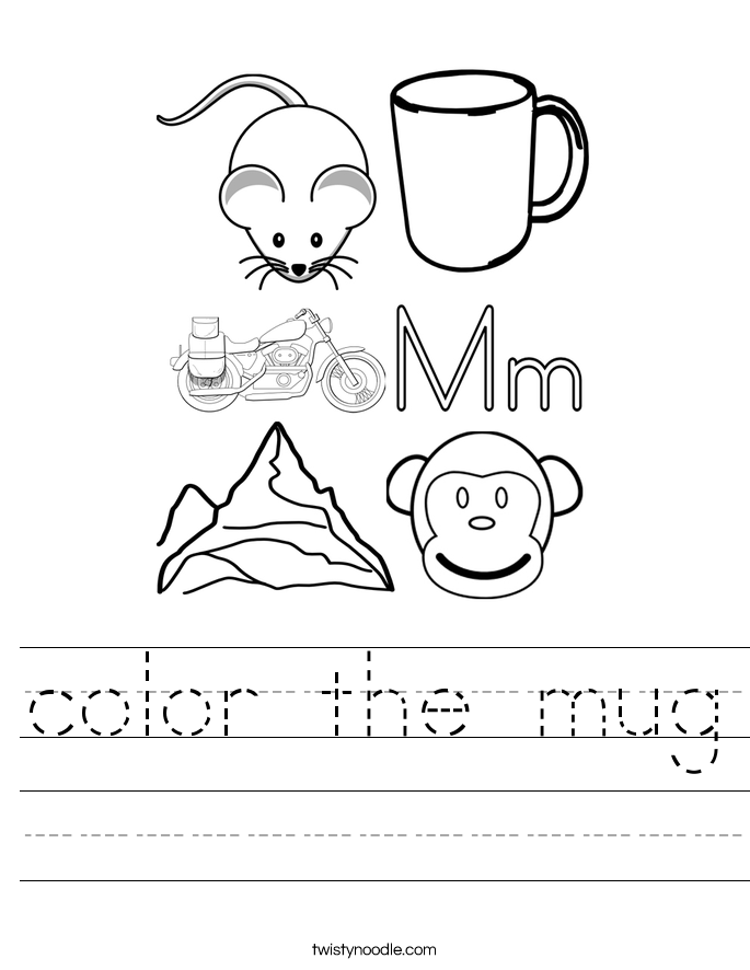 color the mug Worksheet