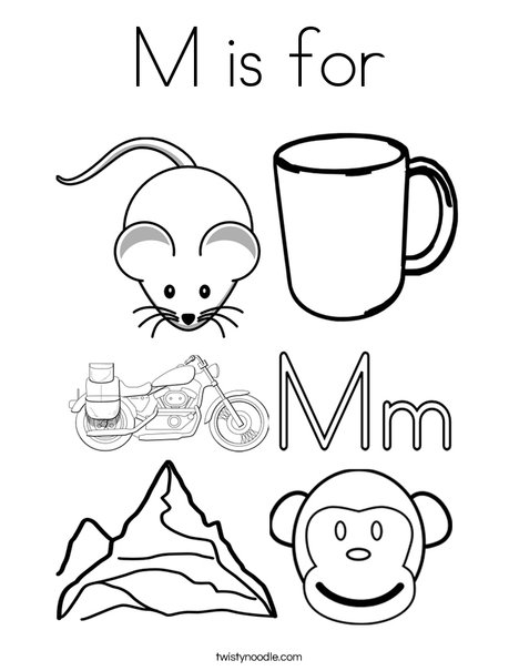 M is for Coloring Page - Twisty Noodle