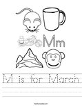 M is for March Worksheet