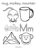 mug, monkey, mountainColoring Page