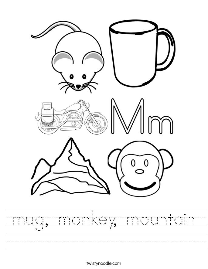 mug, monkey, mountain Worksheet