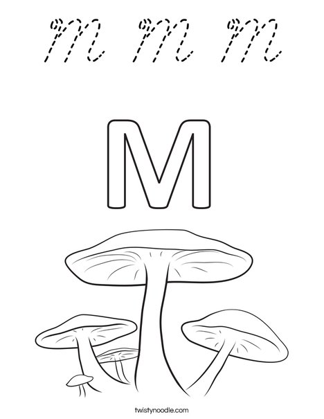 M Mushrooms Coloring Page