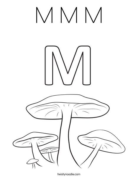 M Mushrooms Coloring Page