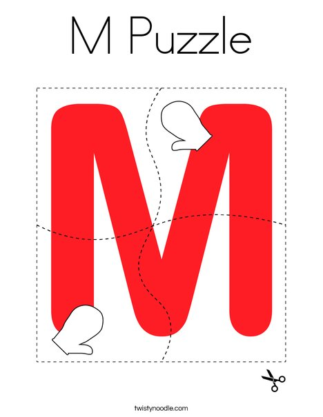 M Puzzle Coloring Page