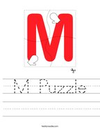 M Puzzle Handwriting Sheet