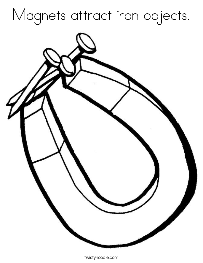 Magnets attract iron objects. Coloring Page