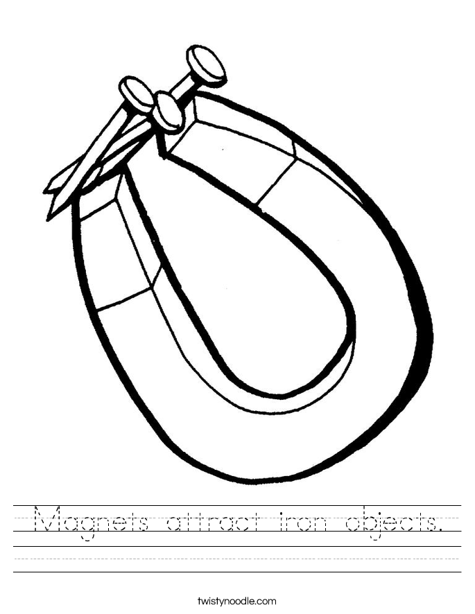 Magnets attract iron objects. Worksheet