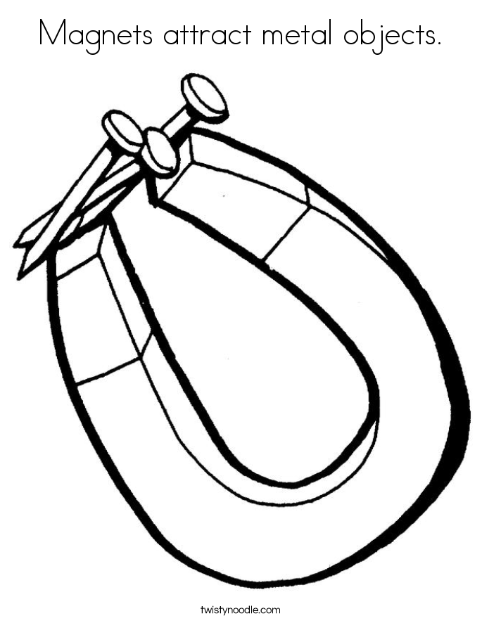 Magnets attract metal objects. Coloring Page