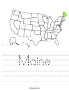 Maine Handwriting Sheet